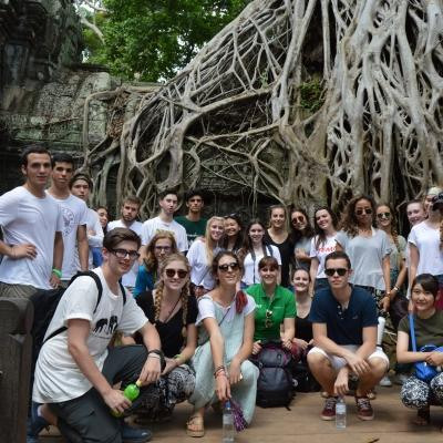 A group of volunteers in Cambodia visit the famous Angkor Wat temple over a weekend.